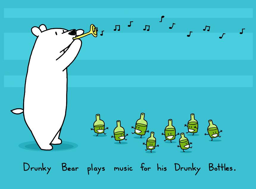 Drunky Bear Music Art Print 15 Sebastien Millon Art