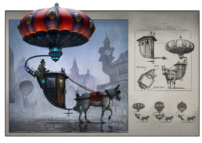 Chad Weatherford Concept drawing of horse drawn balloon carriage