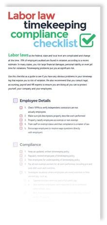 Labor Law Timekeeping Compliance Checklist