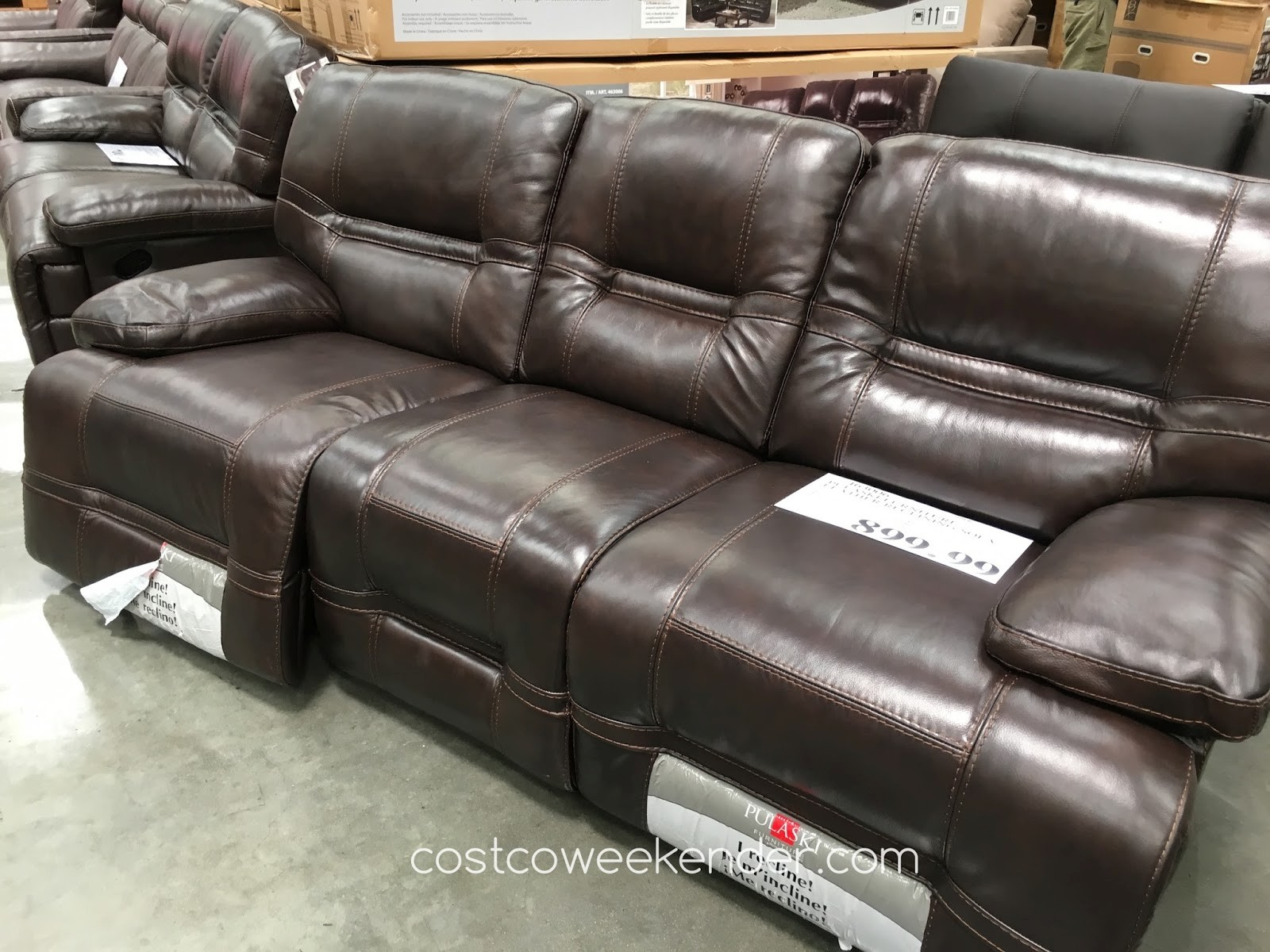 deacon leather power reclining sofa reviews valencia 2 seater bonded recliner with console zach costco review home co