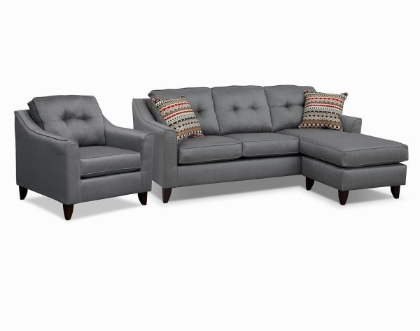 Beautiful Gray Leather Reclining Sofa - Modern