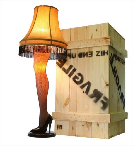 Full Size Leg Lamp In Wooden Crate