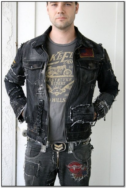 Black Distressed Jean Jacket Mens