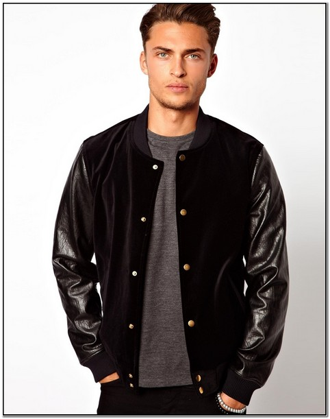 Black Velvet Bomber Jacket Mens