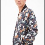 Blue Floral Bomber Jacket Mens