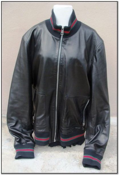 Gucci Mens Leather Bomber Jacket