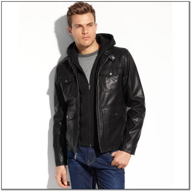 Guess Mens Leather Jacket With Hood