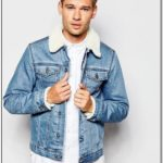 Light Blue Denim Jacket With Fur Mens