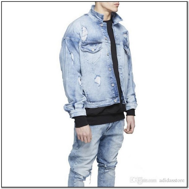 Mens Distressed Blue Jean Jacket