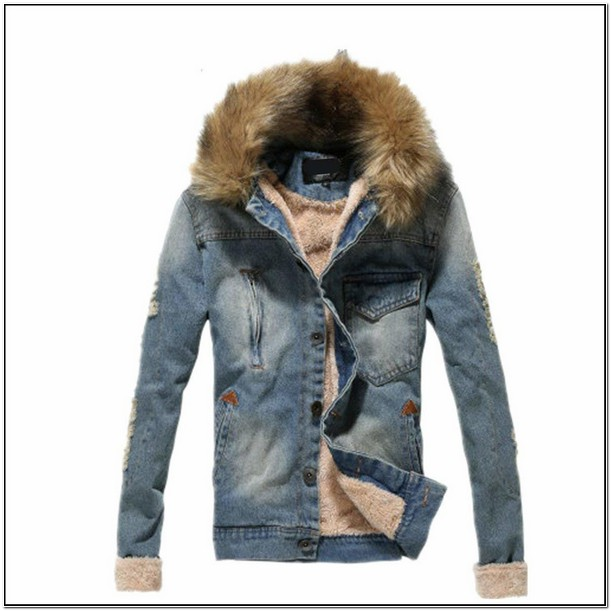 Mens Jean Jacket With Fur Hood