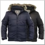 Mens Padded Bomber Jacket With Fur Hood