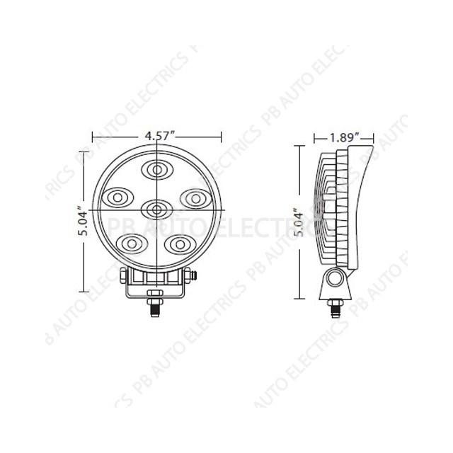 ECCO Vision Alert Round 6 x 3 Watt LED Worklamp 12v/24v