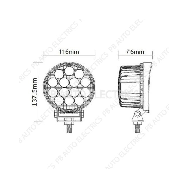 Vision Alert ECCO Round 14 x 3 Watt LED Lamp 12v/24v