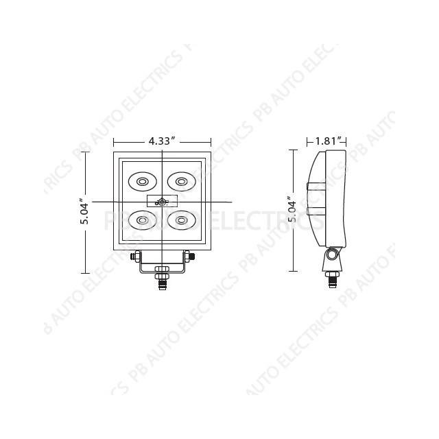 ECCO Square LED Flood Worklamp 5 3w LEDs 1.0 Amp 12v/24v