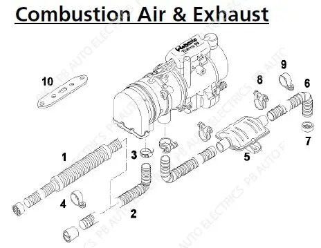 Webasto Thermo 90/S/ST & Pro 90 Combustion Air & Exhaust