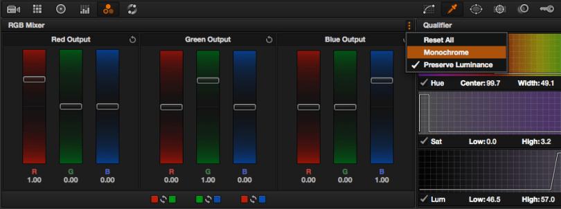 using resolve monochrome settings