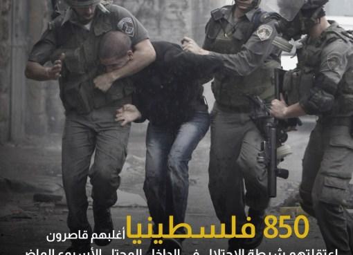اعتقال 850 فلسطينا