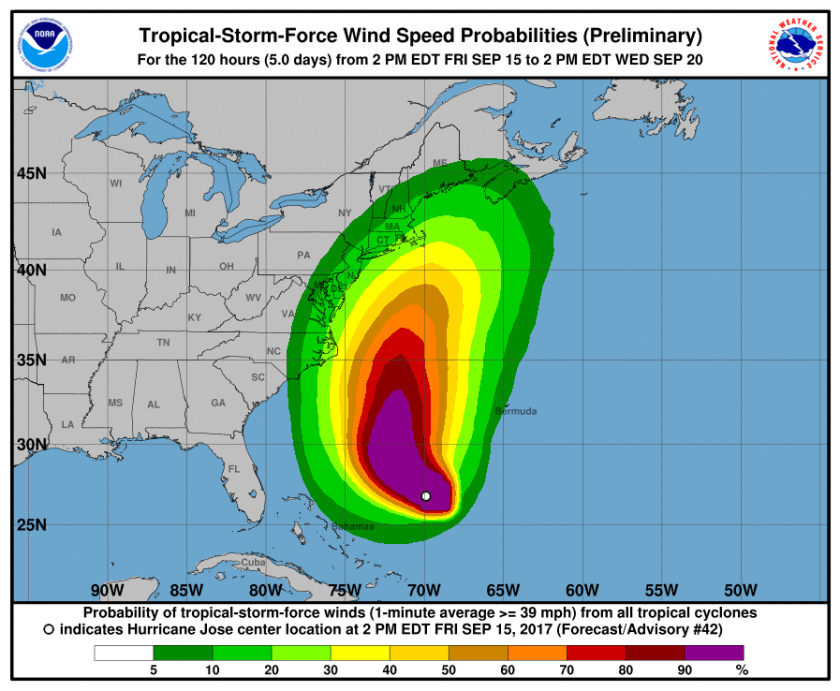 TS force winds probabliity