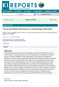 "Social Media in Nephrology Education ""Article in Press"""