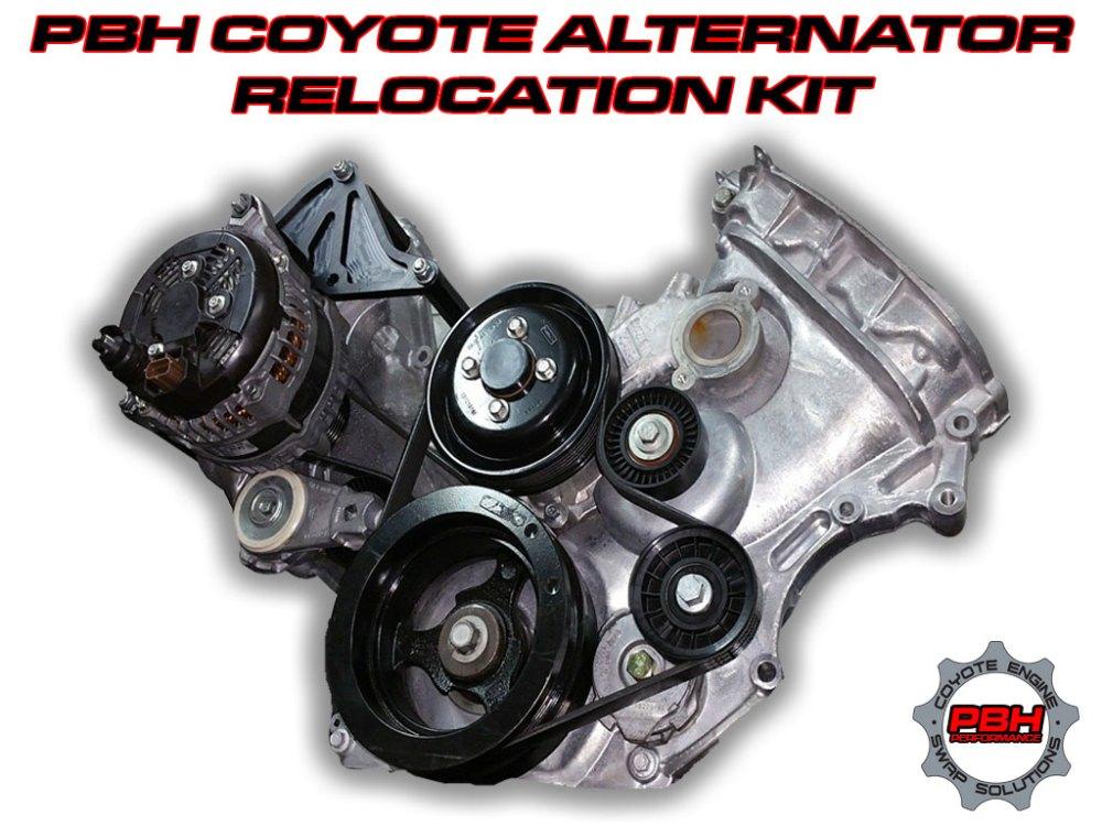 medium resolution of coyote swap alternator relocation kit