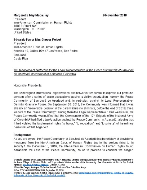 Letter to IACHR and CorteIDH Peace Community of San Jośe de Apartadó_Page_1