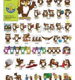 owl mascot clip art behavior set [ 791 x 1024 Pixel ]
