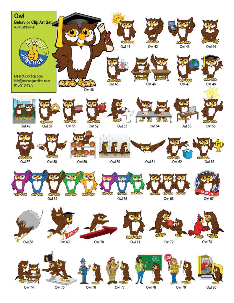 hight resolution of owl mascot clip art behavior set
