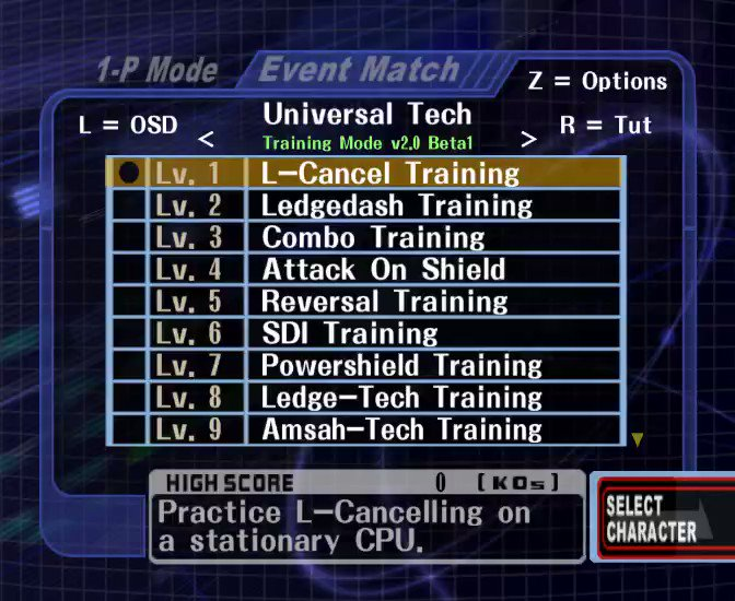 """UnclePunch on Twitter: """"Some lesser additions and changes in Training Mode v2.0: Added a new menu to the Event Selection Screen. Pressing Z will display the menu.… https://t.co/sCbZBi1gdQ"""""""