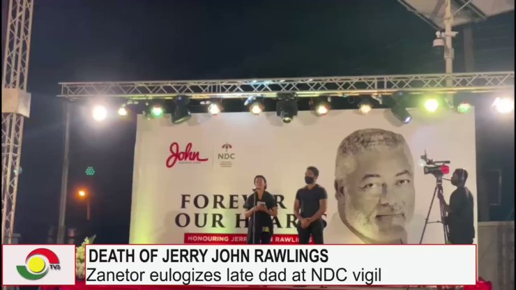 """Onua 95.1 FM on Twitter: """"Daughter of the late Jerry John Rawlings, Zanetor Rawlings pays a glowing tribute to her Dad at the ongoing NDC vigil held at the Obra Spot in"""