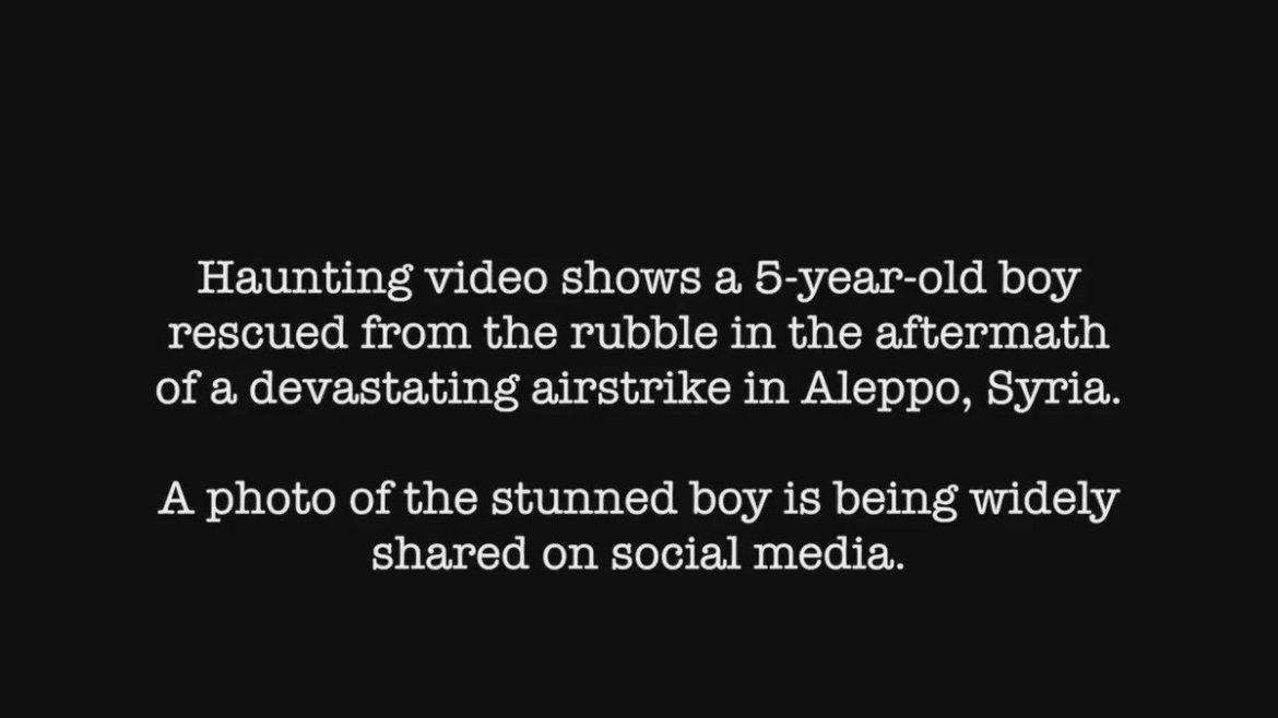 Haunting video of little boy pulled from rubble after devastating airstrike in Aleppo. READ: