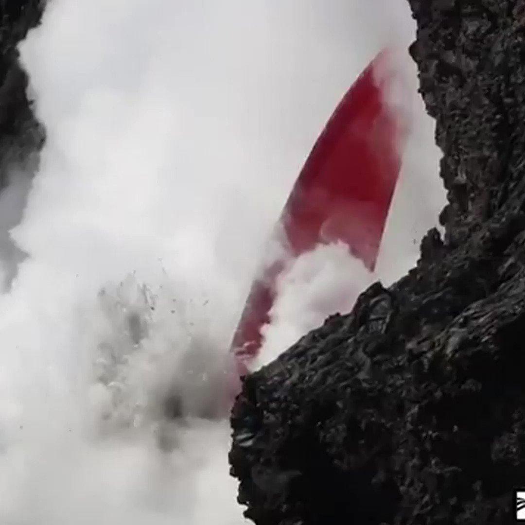 The rare 'lava firehose' filmed flowing from Hawaii's Kilauea volcano
