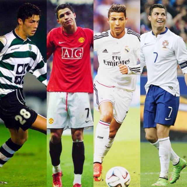 Resultado de imagen para cr7 sporting, manchester, portugal y real madrid
