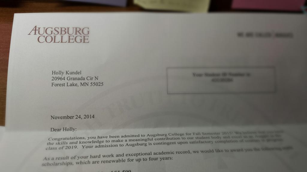 "Holly Kundel on Twitter: ""Got my official acceptance letter from ..."