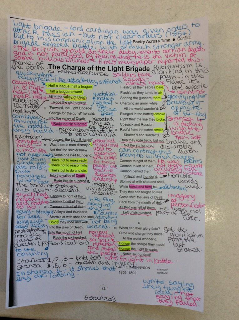 SJCC English on Twitter Examples of hard work by Year 10 Annotations of The Charge of the