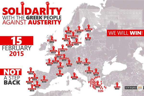 Map of Solidarity with the Greek People against Austerity demonstrations all around Europe