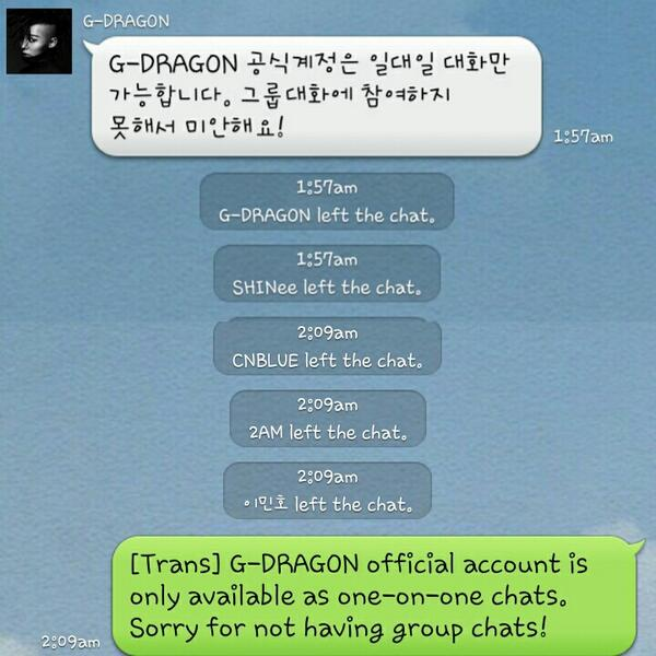 𝔤𝔞𝔟 On Twitter Shrimpljy Invited Some Celebrities In A Group Chat Line Only Gd Leaves Message Others Just Left D Room Http T Co 72bkpzlvo7