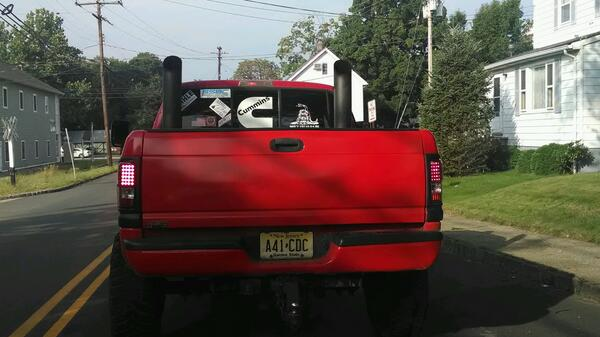dual vertical exhaust stacks coming