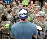Luke Willson signs autographs for the troops