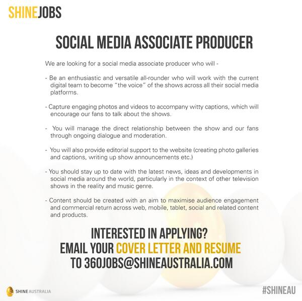 Endemol Shine AU on Twitter Seeking a Social Media Associate Producer  send your cover letter