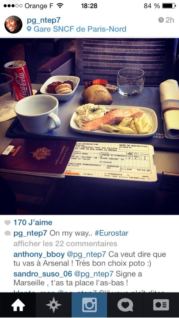 BdtzkT2IMAAIxtx Auxerres Paul Georges Ntep (linked with Arsenal) posts Instagram picture heading to London on the Eurostar