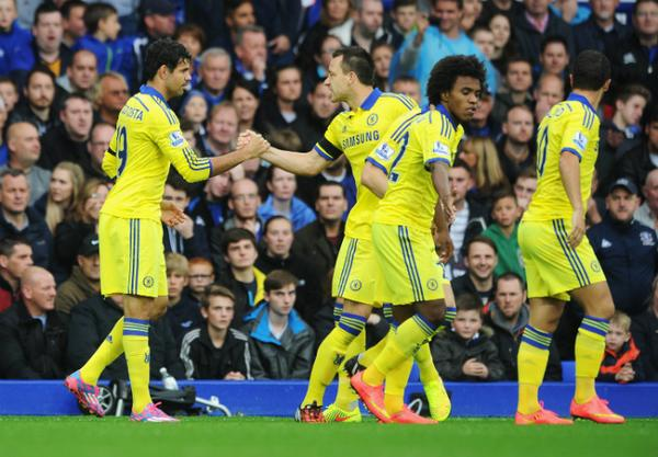 Terry congratulates Costa after Chelsea's first [via @PremierLeague]