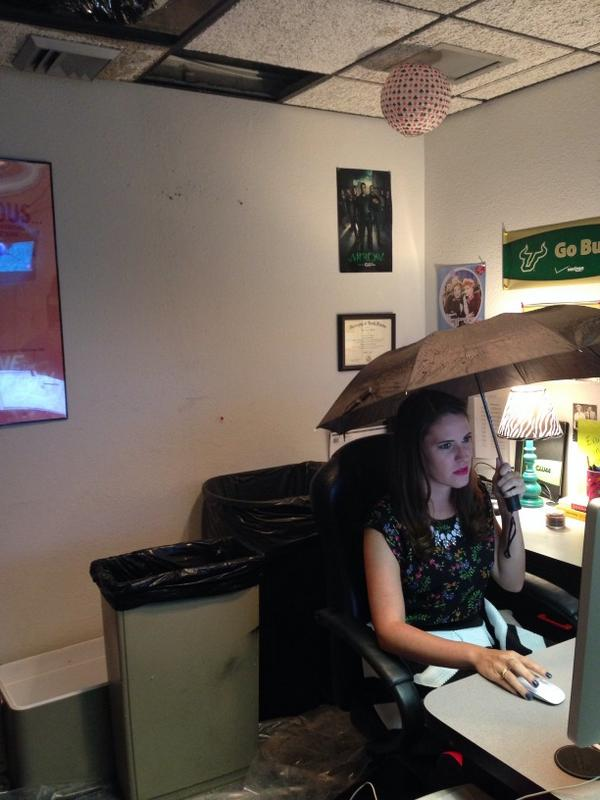 My life today its raining in my office at cw44_tampabay