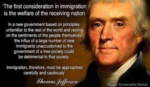 Image result for jefferson first consideration in immigration picture