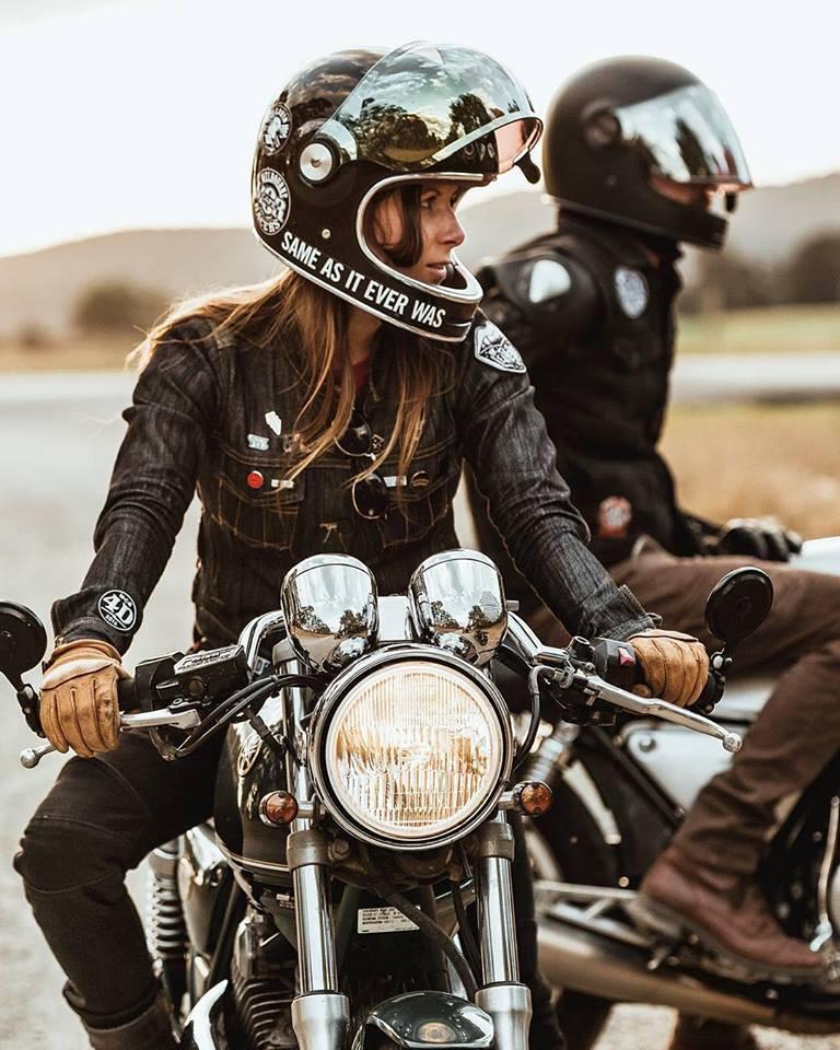 Cafe Racer Motorcycle Girl