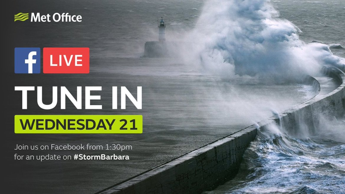Need to know the latest about #StormBarbara? Join us for a Facebook LIVE tomorrow at 1:30pm