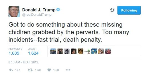 Image result for trump tweet on pedofiles
