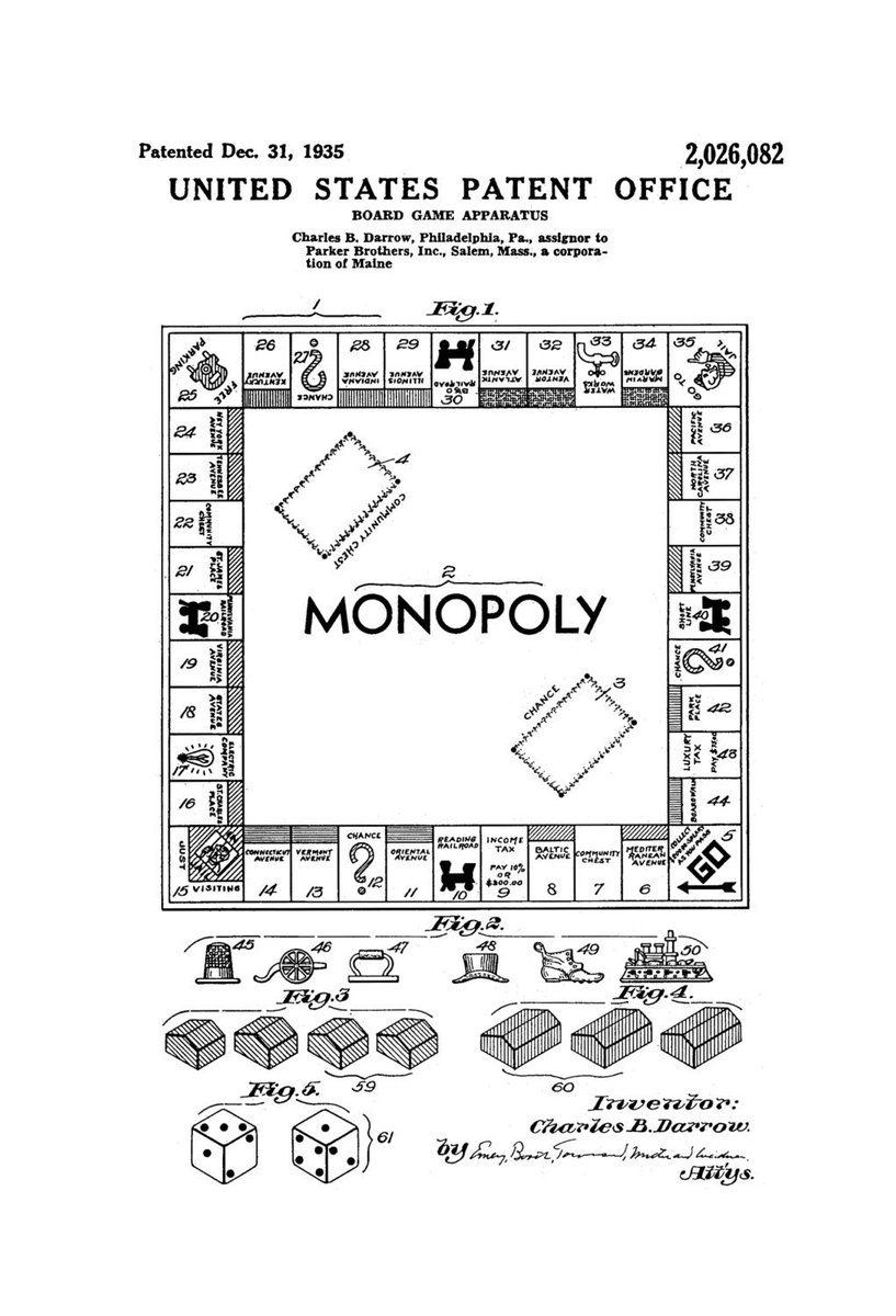 hight resolution of anthony mason on twitter on this date in 1935 us patent 2 026 082 was granted for the board game monopoly