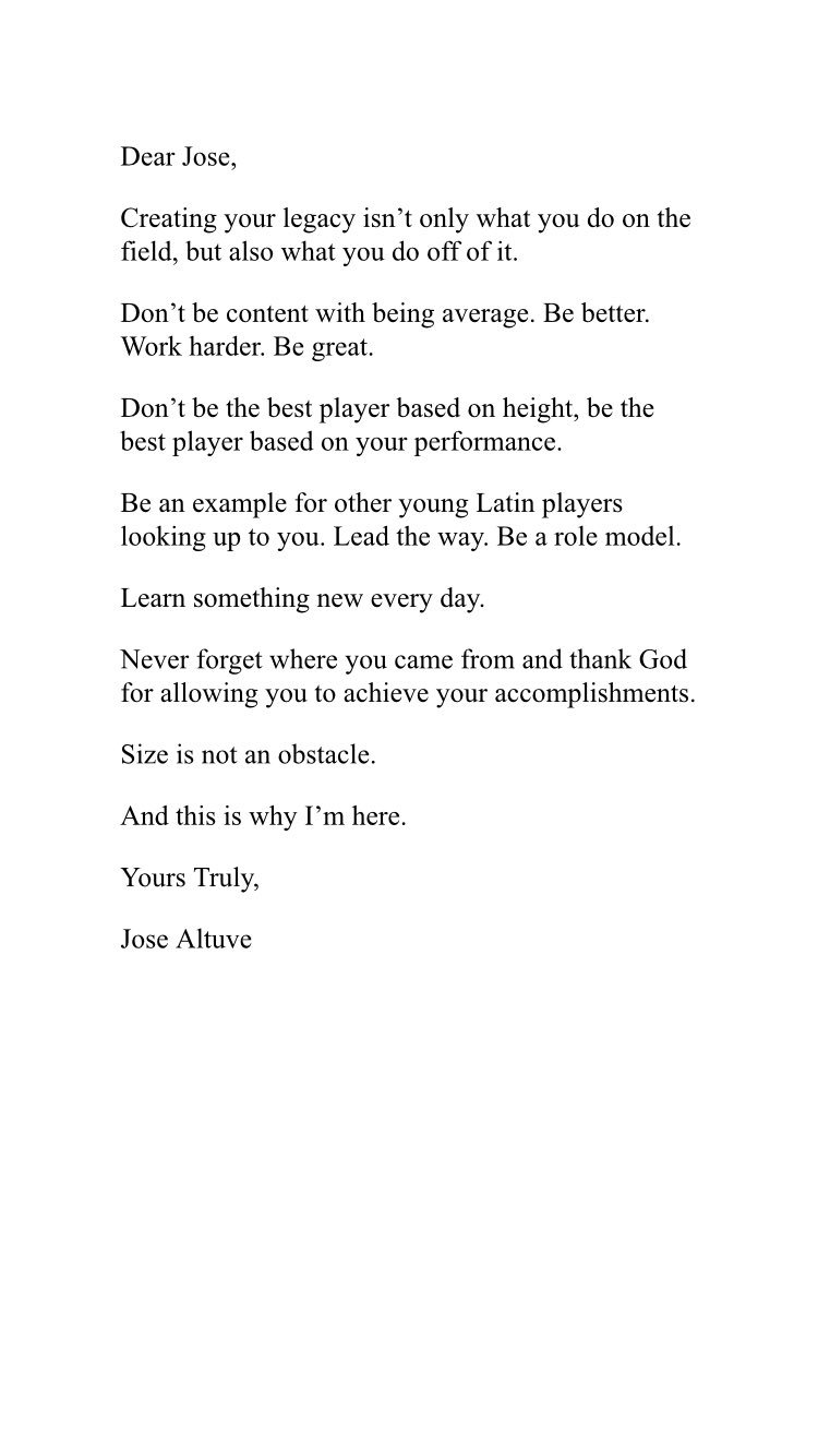Jose Altuve on Twitter Letter to MyFutureSelf Set an