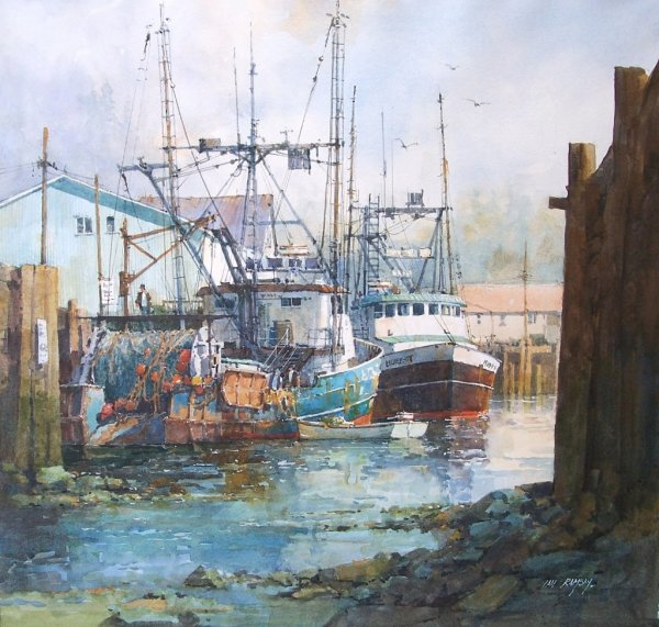 Fishing Boat Watercolor Paintings