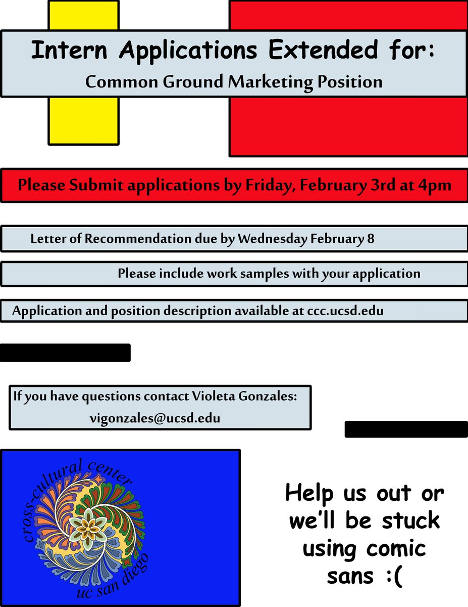 """Ucsd Ccc On Twitter: """"application Extended For Common Ground Marketing  Intern Position. If You Are Great With Design And Interested In Social  Justice Please"""